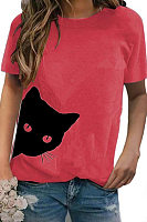 Round Neck Cat Print Short Sleeve T-shirt