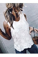 Elegant Round Neck Sleeveless Lace Splicing Chiffon Top