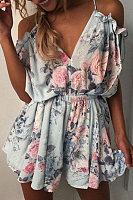 Spaghetti Strap  Backless  Printed  Sleeveless Playsuits
