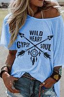 Round Collar Short Sleeve Printing Loose Casual T-Shirt