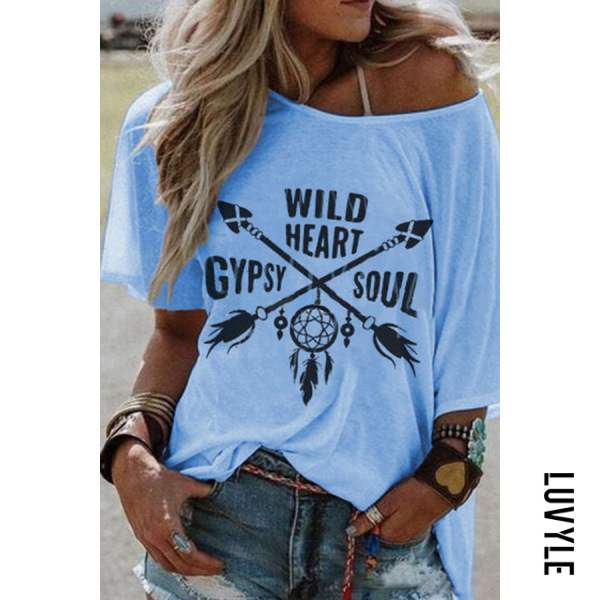 Light Blue Round Collar Short Sleeve Printing Loose Casual T-Shirt Light Blue Round Collar Short Sleeve Printing Loose Casual T-Shirt