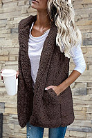 Plush Pocket Vest Hooded Jacket