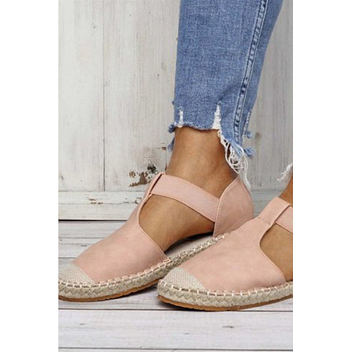 Plain Flat Velvet Round Toe  Date Flat Sandals