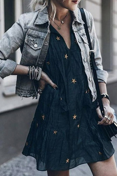 Casual V-Neck Tie With Star Print Mini Dress