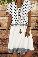 Polka-dot stitching V-neck casual dress