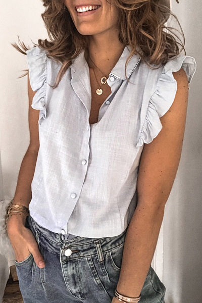 Ruffle Sleeve Solid Casual Blouse