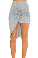 Asymmetric Hem  Plain  Basic Skirts
