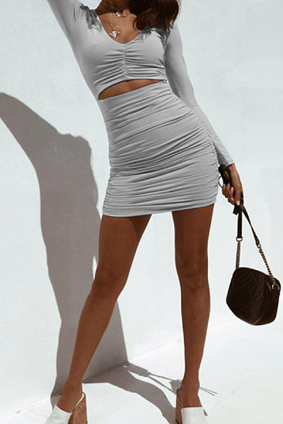 Long-Sleeved V-Neck Sexy Slim Bodycon Dress