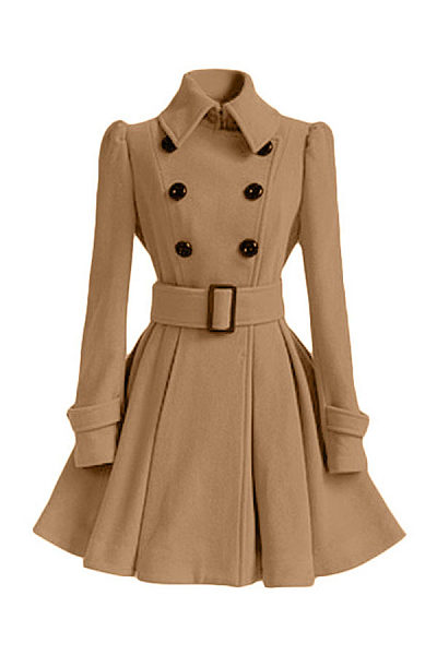 Fold Over Collar  Double Breasted  Belt  Patchwork Outerwear