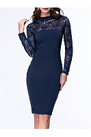 Band Collar  Patchwork Chic Hollow Out Plain Bodycon Dress