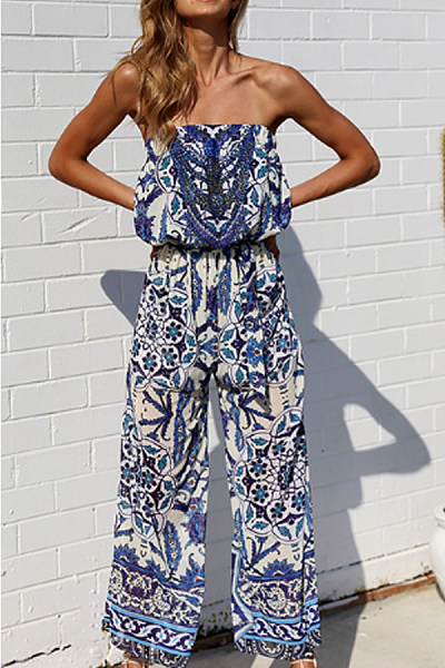 Off Shoulder  Elastic Waist  Abstract Print  Sleeveless Jumpsuits