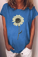 Flower Round Neck Loose Casual T-shirt