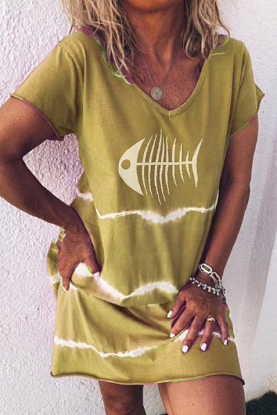 V Neck Striped Printed Casual Dress