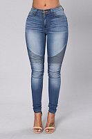 Patchwork Slim Leg Jeans