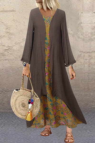 Two-Pieces Long Sleeve Floral Maxi Dress