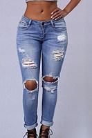 Long  Fitted  Denim  Plain  Basic   Jeans