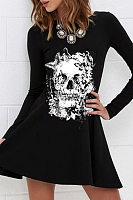 Halloween Printed Round Neck Casual Dress