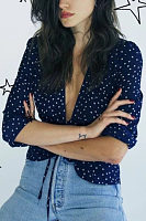 Deep V Neck  Dot  Blouses