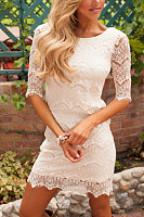 Round Neck  Lace  Half Sleeve Bodycon Dresses
