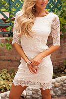 Round Neck  Lace  Half Sleeve Bodycon Dresses