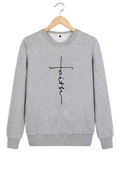 Round Neck Long Sleeve Letters Sweatshirt