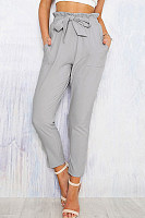 Ruffle Trim Belt Plain High Rise Waist Pants