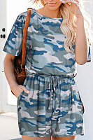 Printed camouflage lace jumpsuit
