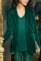 Fashion solid color velvet jacket small suit