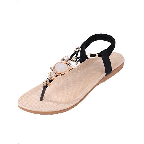 Plain  Flat  Faux Leather  Casual Sandals