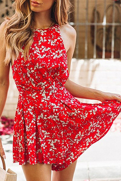 Round Neck  Backless  Printed  Sleeveless  Playsuits