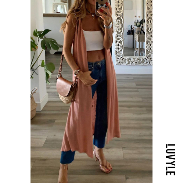 Women's Solid Color Sleeveless Long Casual Thin Coat
