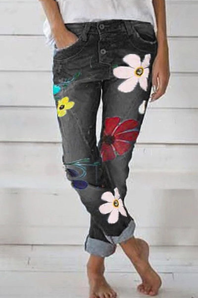 Fashion Floral Denim Pants