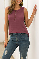 Casual Waffle Button Down Sleeveless Top