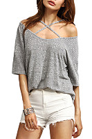 Open Shoulder  Loose Fitting  Plain T-Shirts