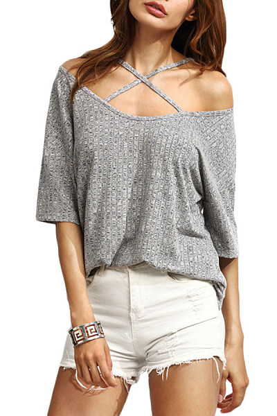 Open Shoulder  Loose Fitting  Plain T-Shirts