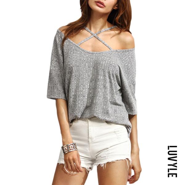 Light Gray Open Shoulder Loose Fitting Plain T-Shirts Light Gray Open Shoulder Loose Fitting Plain T-Shirts