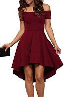 Off Shoulder  Asymmetric Hem Backless  Plain Skater Dresses