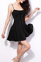 Spaghetti Strap  Drawstring  Plain  Sleeveless Skater Dresses