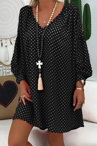 Casual V-Neck Lantern Long Sleeve Polka Dot Print Dress
