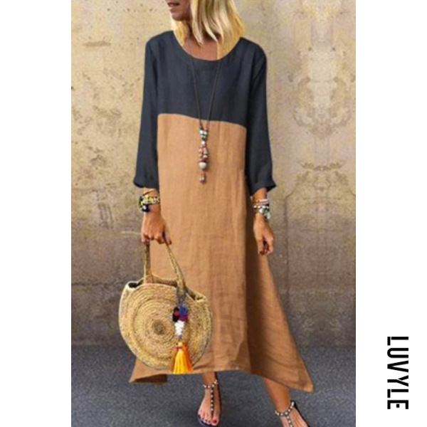 Round Neck Long Sleeve Colouring Splice Maxi Dress