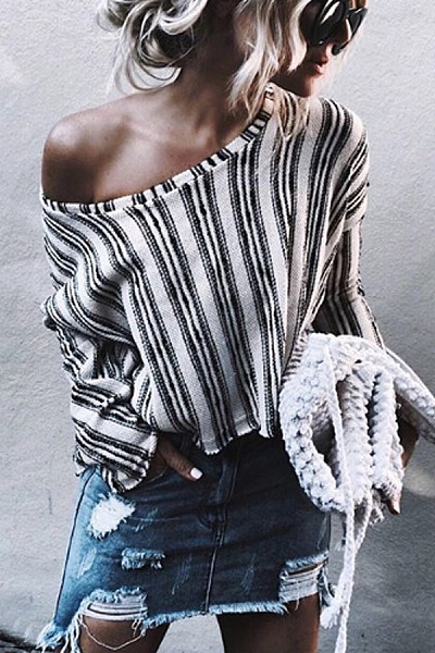 Brief Casual Striped Long Sleeve Single Shoulder Collar T-Shirt