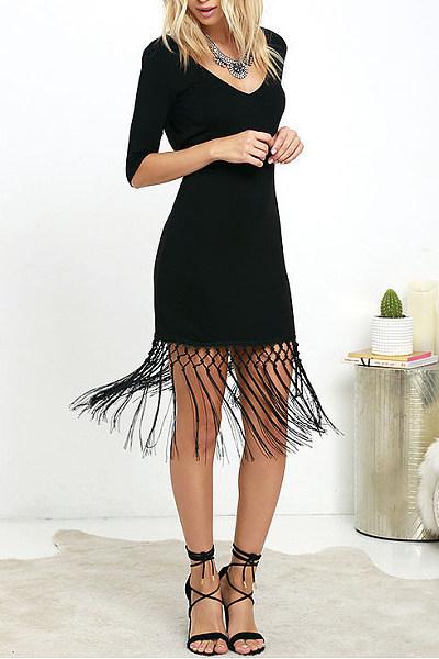 V Neck Tassel Backless Plain Bodycon Dress