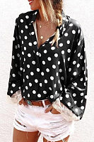 A Lapel Polka Dot Casual Blouse