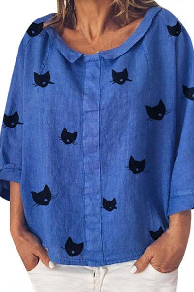 A Lapel Long Sleeve Cat Casual Blouse