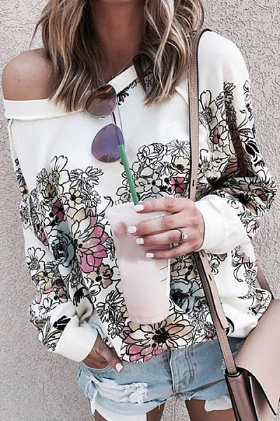 Floral Open Shoulder Collar T-shirt