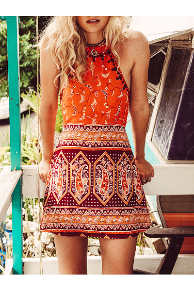 Sexy Halter Bohemian Printed Backless Mini Skater Dress