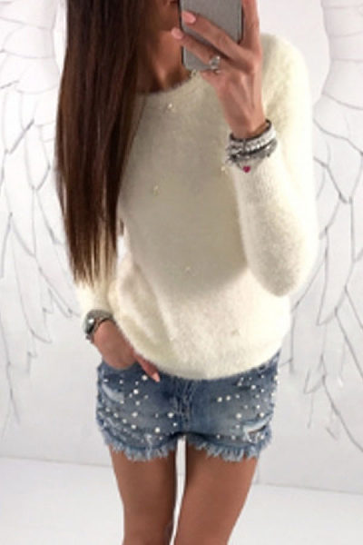 Round Neck  Beading  Plain Sweaters