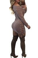 Round Neck  Lace Up  Plain Bodycon Dresses