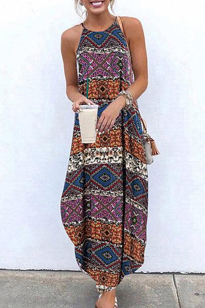 A Collar Sleeveless Printed Maxi Dress