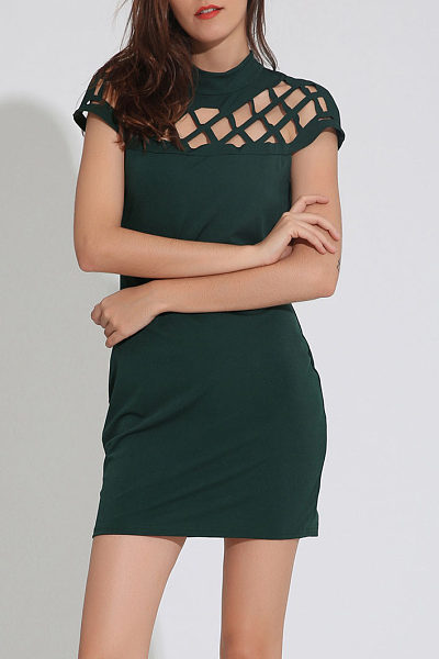 Crew Neck Cutout Fitted Bodycon Dress